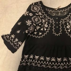 Vintage Free People Sheer Embroidered Blouse